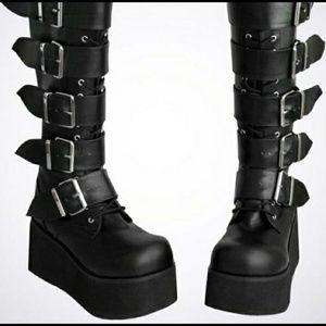 Demonia Trashville 518 Platform Buckle Boots Goth